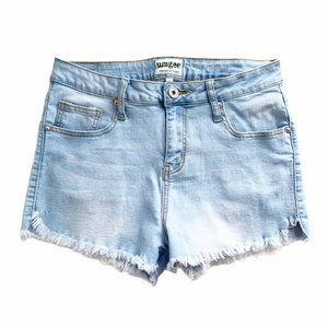Umgee High Rise Cut Off Jean Shorts Light Blue 28